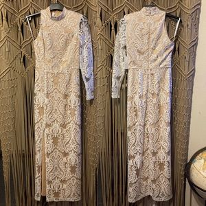 RYSE the Label white Lace Sequin Gown Dress S